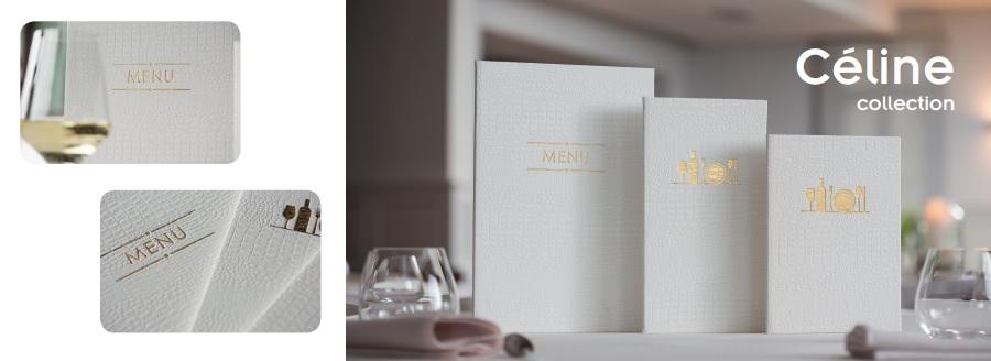 Oro y blanco, una combinación elegante para el portamenú Céline de Lacor