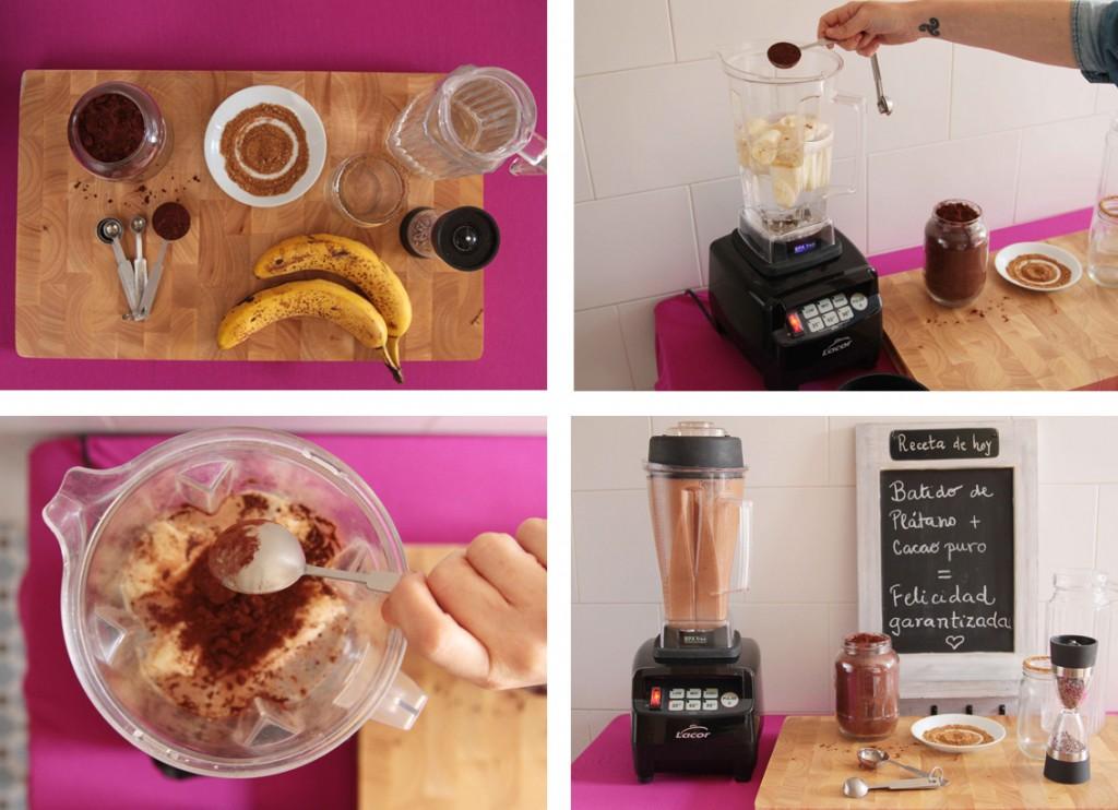 Batido de plátano y cacao puro