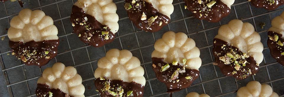 Pastas de chocolate y pistachos