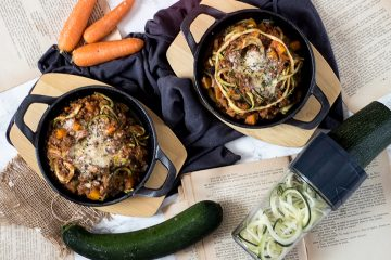 Boloñesa gratinada con espaguetis