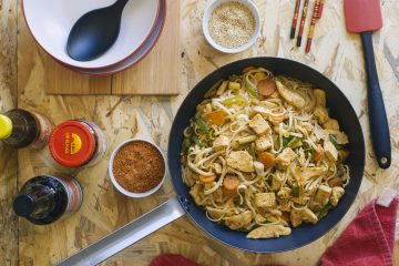 Tallarines de arroz con pollo 5